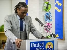 This tear-jerking moment was on the news. Brandon Carr became emotional during his talk to students.